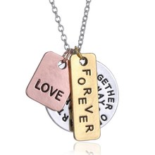Hand stamped necklace personalized pendant necklaces believed letter necklaces encouragement 3 charms necklace for women jewelry(China (Mainland))