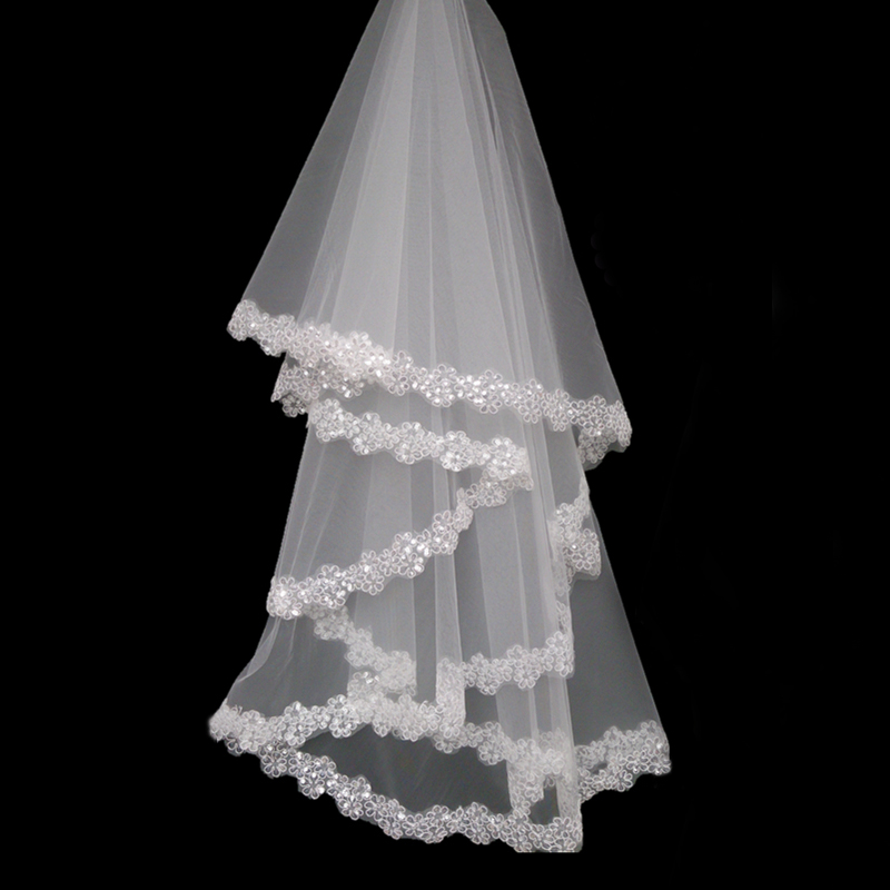 Pretty One Layer Sequin Applique Wedding Veil White Ivory Short Bridal Veils Wedding Accessories