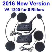 2016 new! 2 pcs V6 casque Intercom 6 Riders 1200 M moto Bluetooth Interphone casque talkie walkie casque BT Interphone(China (Mainland))