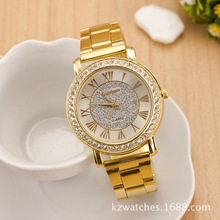 2015 New Fashion geneva Watches Women Rhinestone Watch crystal brand luxury golden men casual Quartz wristwatches