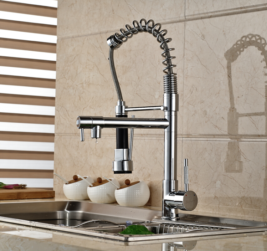 Polished Chrome Spring Pull Down Kitchen Mixer Tap Single Lever Hot Cold Water Faucet Deck Mount Dual Spout(China (Mainland))
