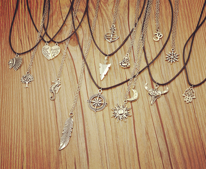 New fashion jewelry antique silver plated moon sun mix design pendant necklace include chain link gift