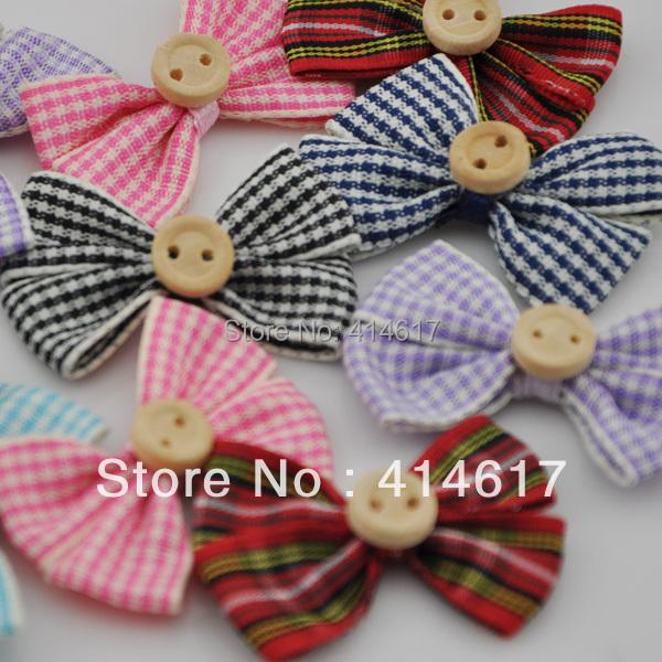 50pcs font b tartan b font plaid Gingham Ribbon Bows Flower Appliques Lots Upick A067 1