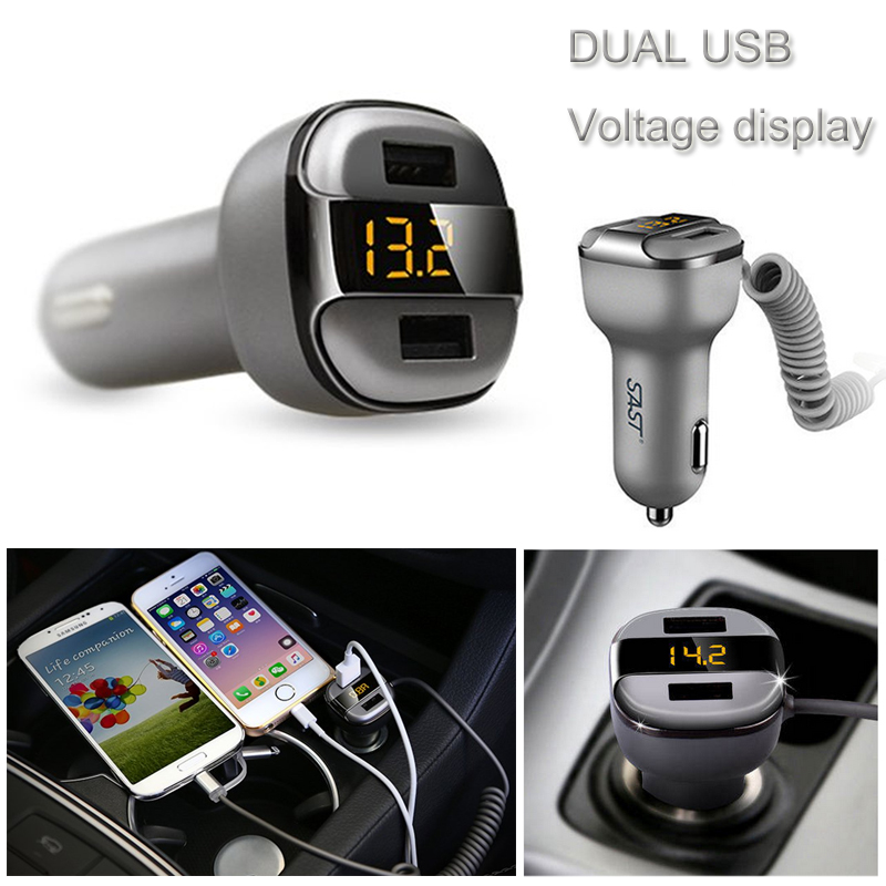 2016 SAST Car Charger Voltmeter Dual USB Intelligent Current Output For iPhone Samsung with elastic extension charger cable(China (Mainland))