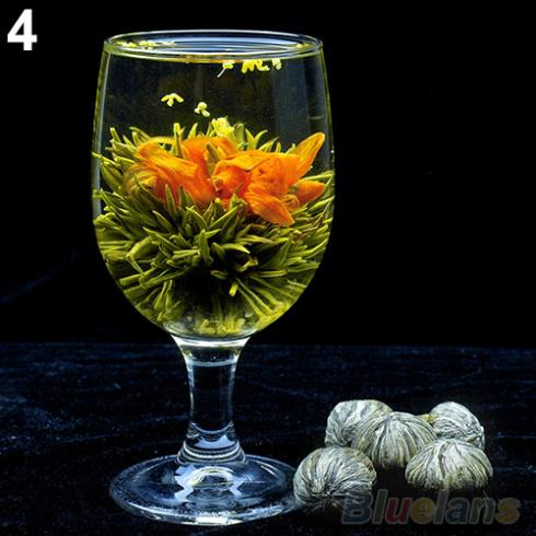 4 Balls Different Handmade Blooming Flower Green Tea Home Wedding Gift 1ON6 1ORU 48FN
