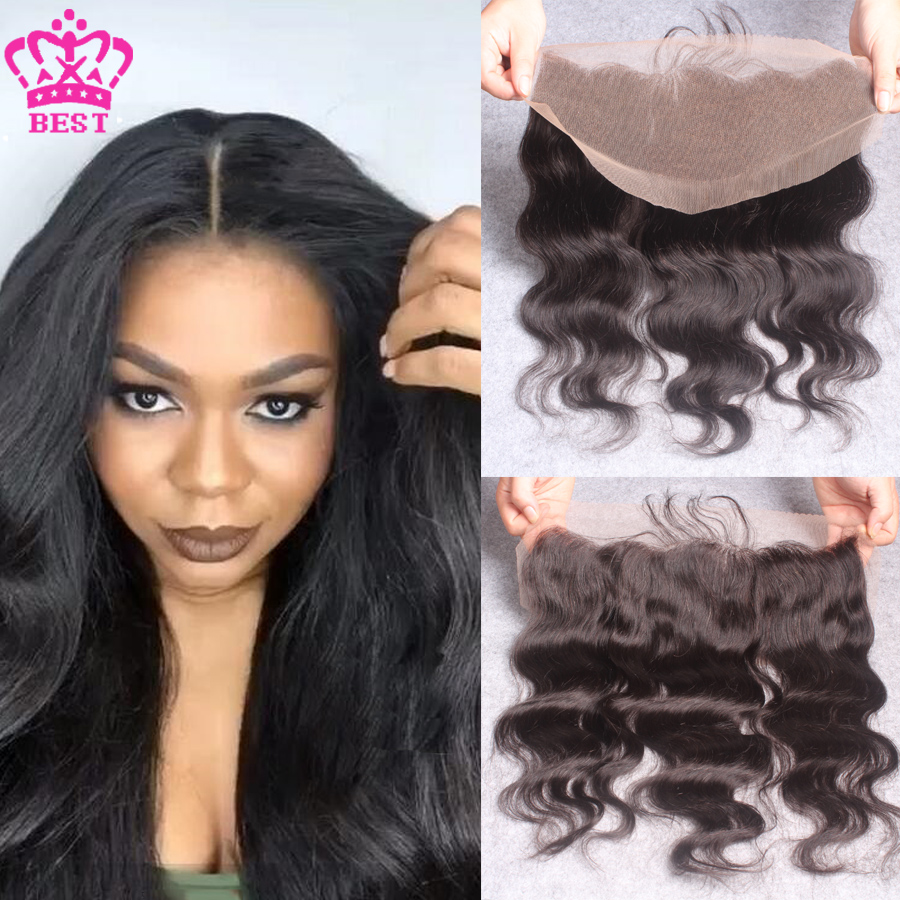 Peruvian Virgin Human Hair Body Wave Lace Frontal 13x4 Lace Frontal Closure Ear To Ear Full Lace Frontal Closures With Baby Hair