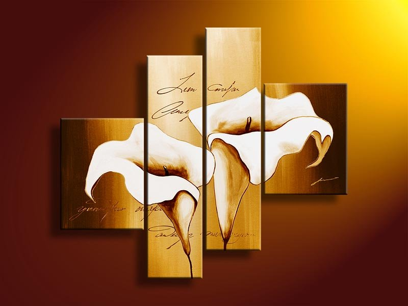 hand-painted oil wall art Golden white flowers decoration abstract simple oil painting designs on canvas 4pcs/set mixorde(China (Mainland))