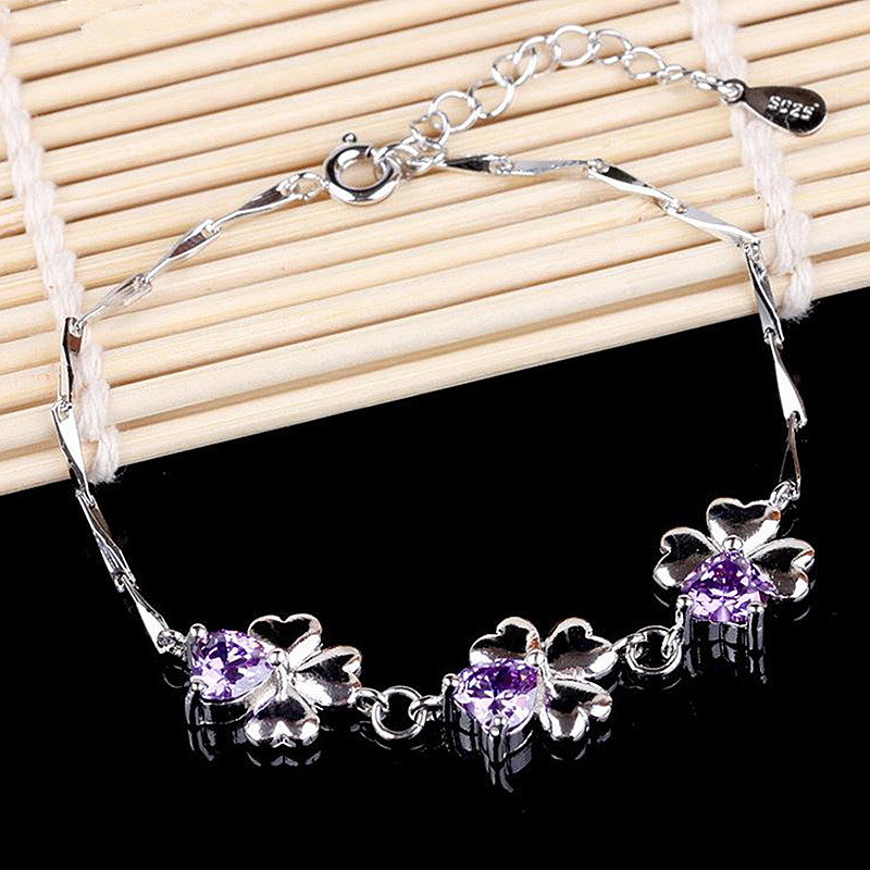 brand bracelets for women AAA CZ crystal silver heart charms europeu bangles 2016 Chain link girls Lucky clover wholesale(China (Mainland))