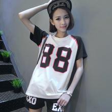 2015 summer football t shirt women exo printed tops shirts ladies short sleeve black white splicing tee shirt femme 9 models(China (Mainland))