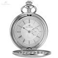 KS Retro Vintage Silver Skeleton Round Hunter White Steampunk Male Women Clock FOB Pendant Quartz Pocket