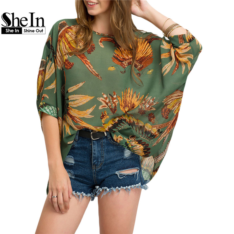 SheIn Women Blouses 2016 Summer Chiffon Three Quarter Length Sleeve Round Neck Green Leaves Print Casual Loose Blouse(China (Mainland))