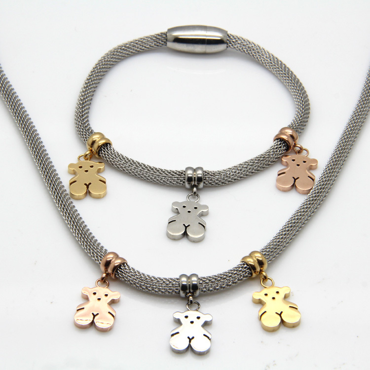 New Arrival Famous Brand Bear Jewelry Sets 18 K Gold / Rose Gold / Silver Stainless Steel Necklaces And Bracelets For Women(China (Mainland))