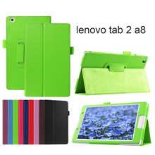 PU leather cover stand case for lenovo tab2 A8 (tab 2 A8-50 A8-50F A8-50LC) + 2 pcs screen film