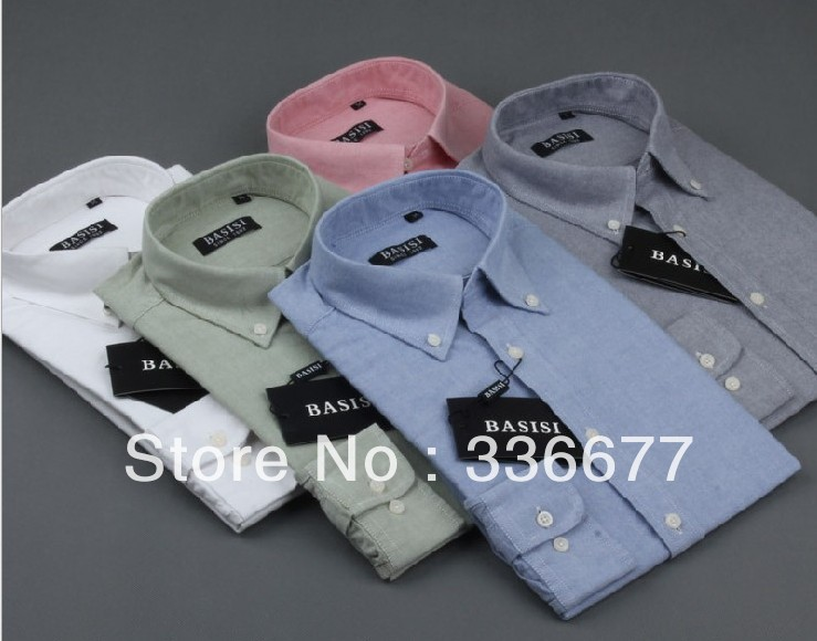 Free Shipping High quality Mens Long Sleeve Cotton Oxford Dress Shirt QR-4999Одежда и ак�е��уары<br><br><br>Aliexpress