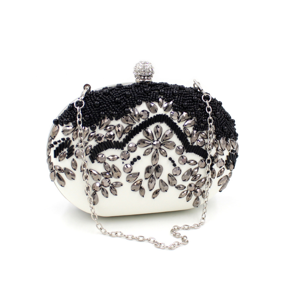 January 2016 New Women Oval Evening Clutch Wedding Party Bag Beading Purse Diamonds White And Black BD002(China (Mainland))