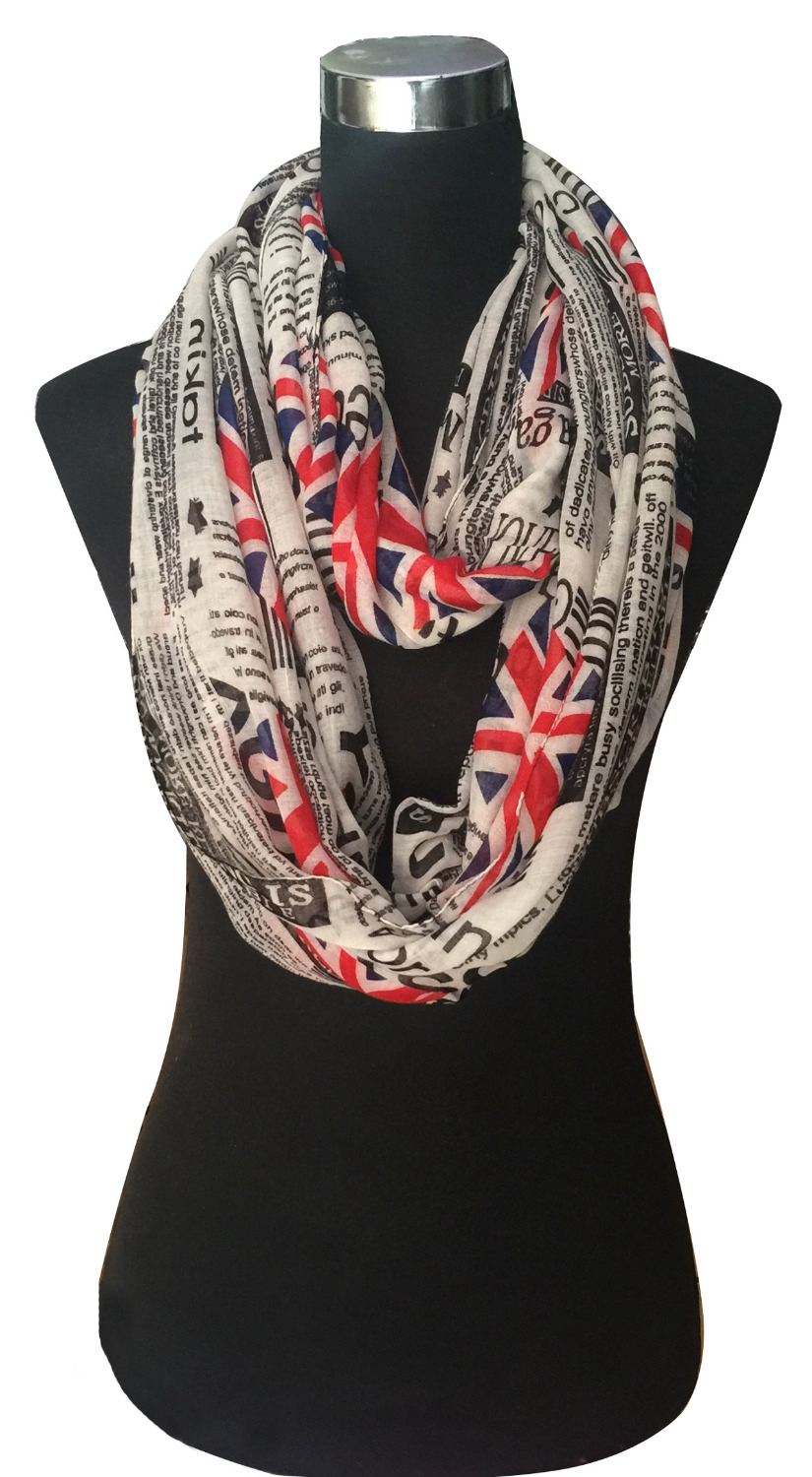 UK Union Jack Newspaper Print Infinity Loop Scarf Cowl Circle Accessories