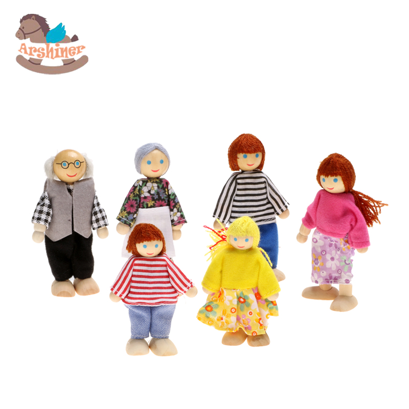 Arshiner 6 pcs Small Wooden Toys Doll Family of 6 People Dressed People Happy Dollhouse Family Dolls Set Educational Toy(China (Mainland))