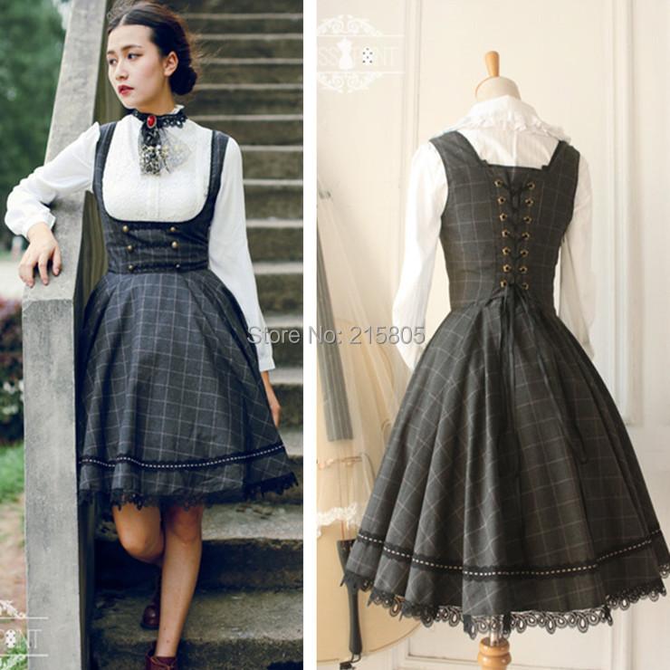 Classic Preppy Style Dress 2016 New Quality Women Grey Plaid Wool Tank Retro Button Knee Woolen Girls - LOOKWEEN store