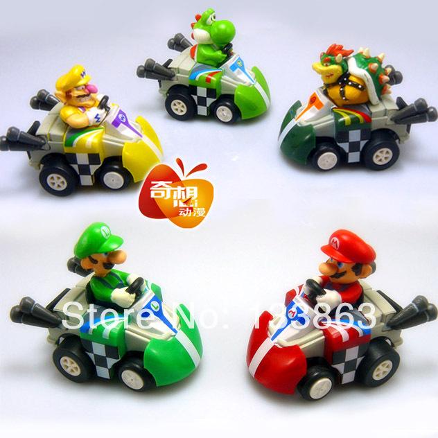 Super Mario Bros Car Toy Full set of 5 Super Mario Bros. Kart PULL BACK Cars Figures super mario kart figure,free shipping(China (Mainland))