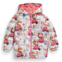 Kids Toddler Girl Jacket Elsa Coat Costume Hooded Anna Snow Queen Windbreaker for Children Outerwear baby blazer Clothing minnie(China (Mainland))