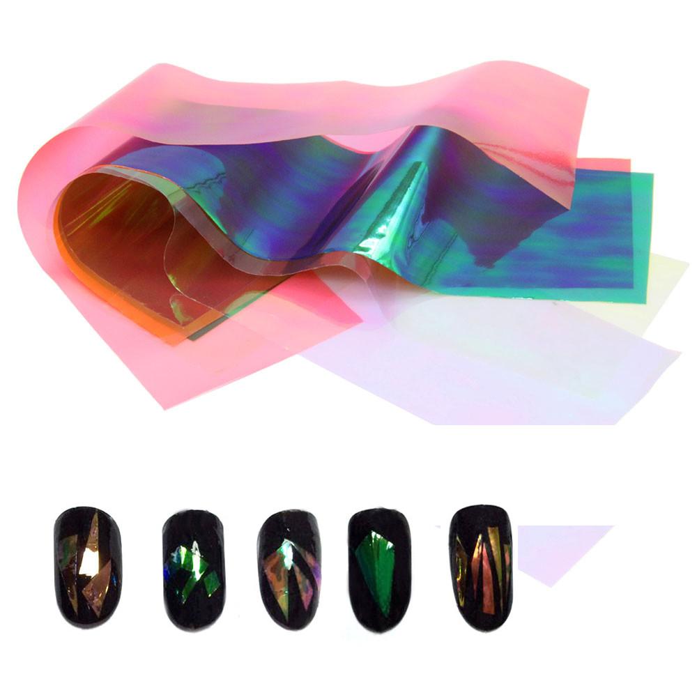 10 Folhas 3D Holográfico Folhas de Vidro Quebrado Dedo Espelho Adesivos Glitter Stencil Decalque Da Arte Do Prego DIY Manicure Ferramentas de Design