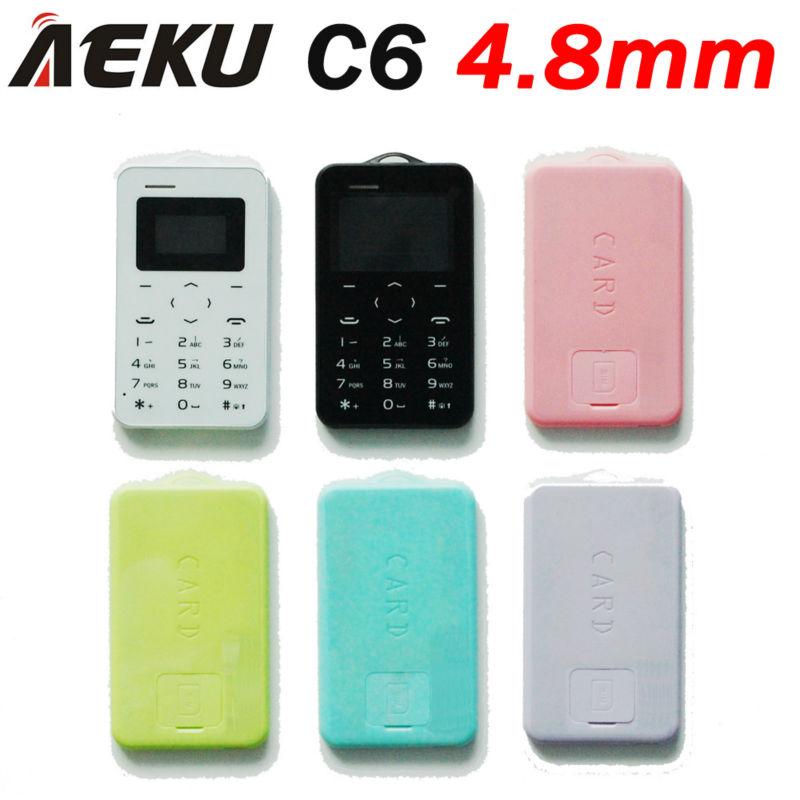 Russian language AIEK C6 Card Cell Phone 4.8mm Ultra Thin Pocket Mini Phone Quad Band Low Radiation AEKU C6 Card cheap Phone(China (Mainland))