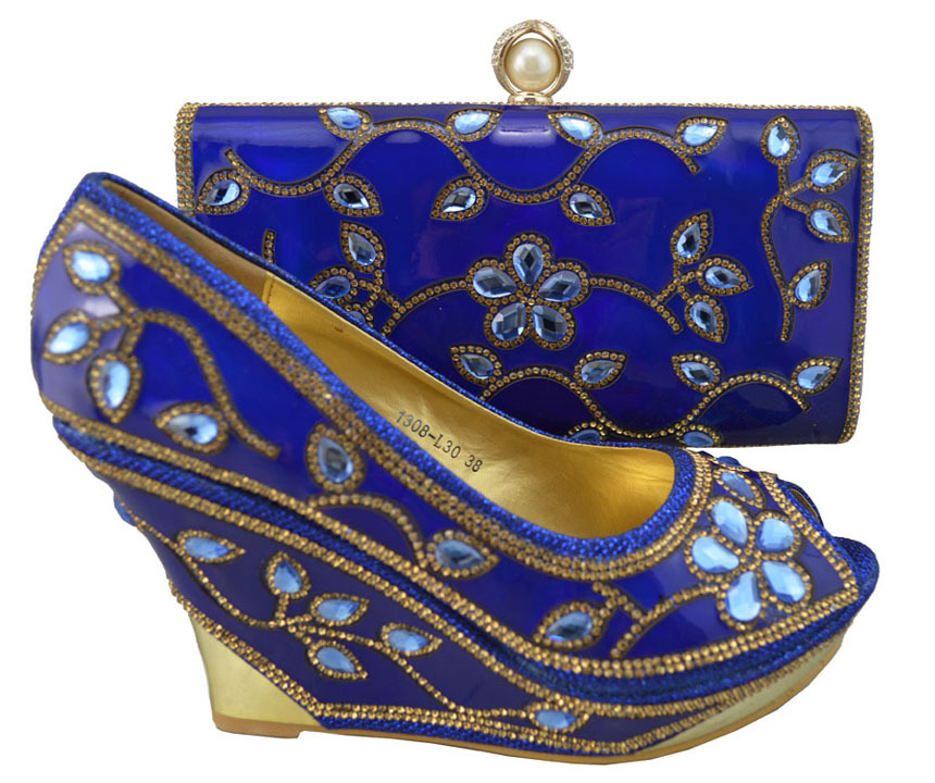 Newest arrival African Shoes and Bag Matching Set with sequins,Fashion Ladies royal blue Shoes and Bag for party,YBS1-62!(China (Mainland))