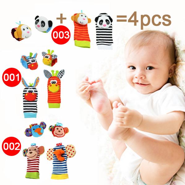 2pcs wrist + 2pcs socks Baby Infant Soft Handbells Hand Wrist Strap Rattles/Animal Socks Newborn Finders Stuffed Christmas Toys(China (Mainland))