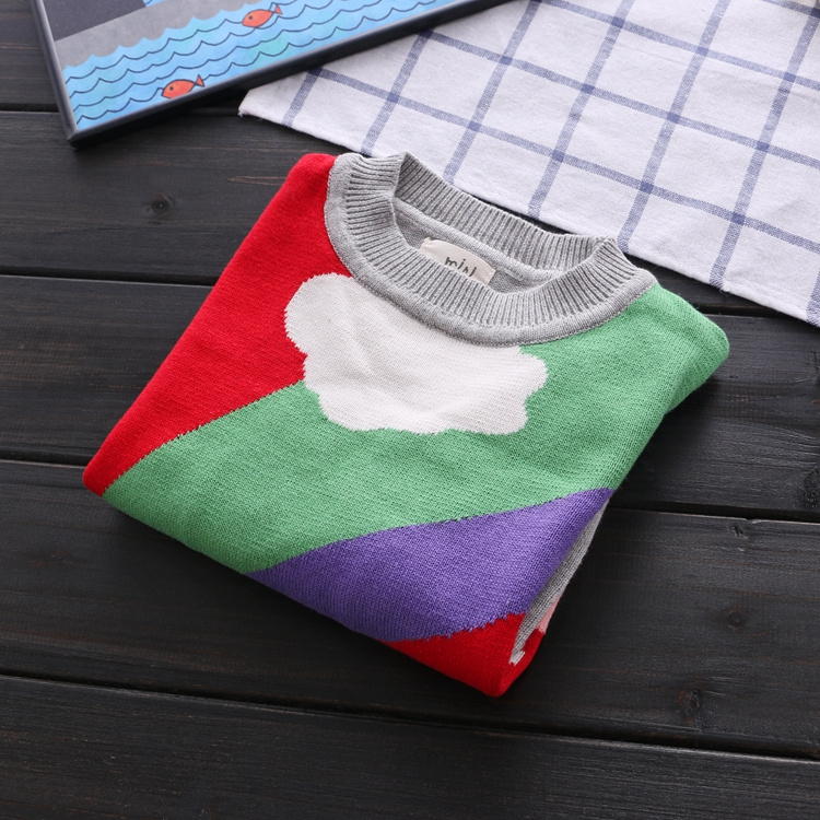 Скидки на Новая зимняя мультфильм новорожденных девочек свитер cloud капли дождя детская одежда детская свитер теплый с длинным рукавом для девочек трикотаж 9
