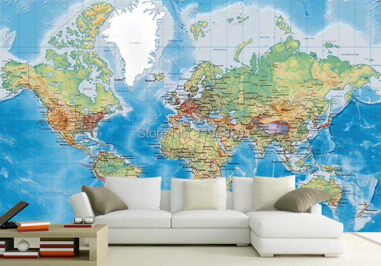 Original world map large mural wallpaper tv sofa for Home wallpaper world map