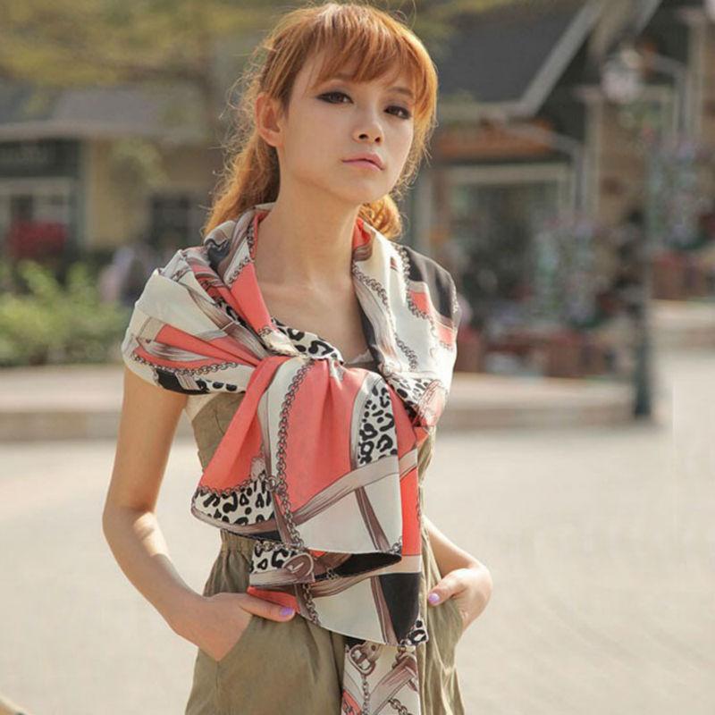 Free shipping! chiffon all-match multi-element leopard print chain heart pendant scarf women's silk scarf cape(China (Mainland))
