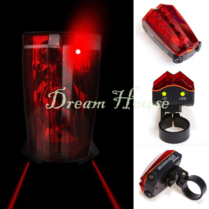 Beautiful Design Bike Bicycle Cycling 2 Laser Beam 5 LED Warning Tail Rear Back Flash Light Lamp 22(China (Mainland))