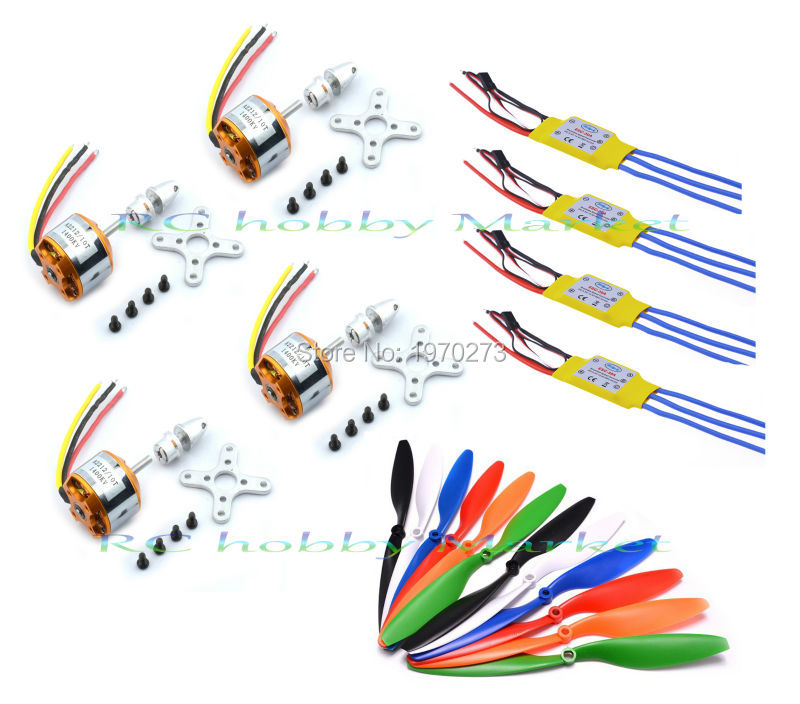 4pcs XXD A2212 A 2212 1400kv Brushless Motor + 30A Esc 1045 Propeller for Quad rotor Multicopter and RC Aircraft(China (Mainland))