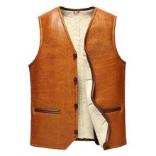 Leather suede men genuine sheepskin vest men fur vest cashmere fur sheep wool liner natural fur jacket male New Phoenix 3060(China (Mainland))