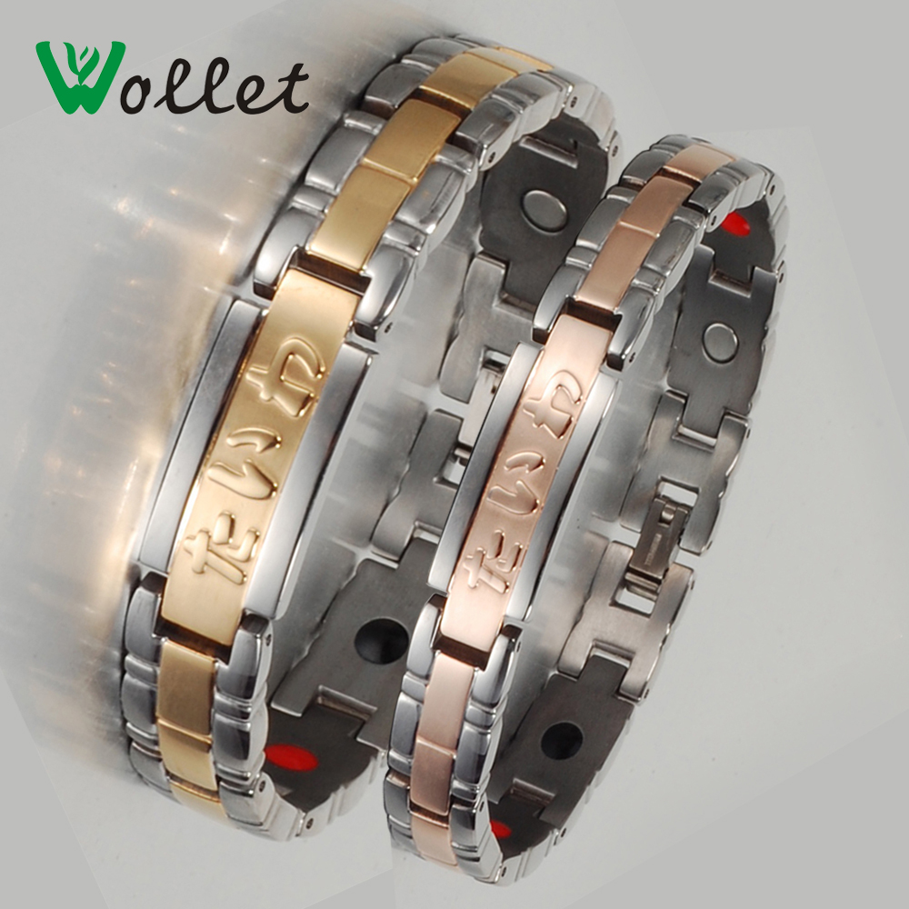 Wollet Jewelry Women Tourmaline Negative Ion Infrared Energy Germanium Stone High Quality Bio Magnetic Titanium Bracelet Bangle(China (Mainland))