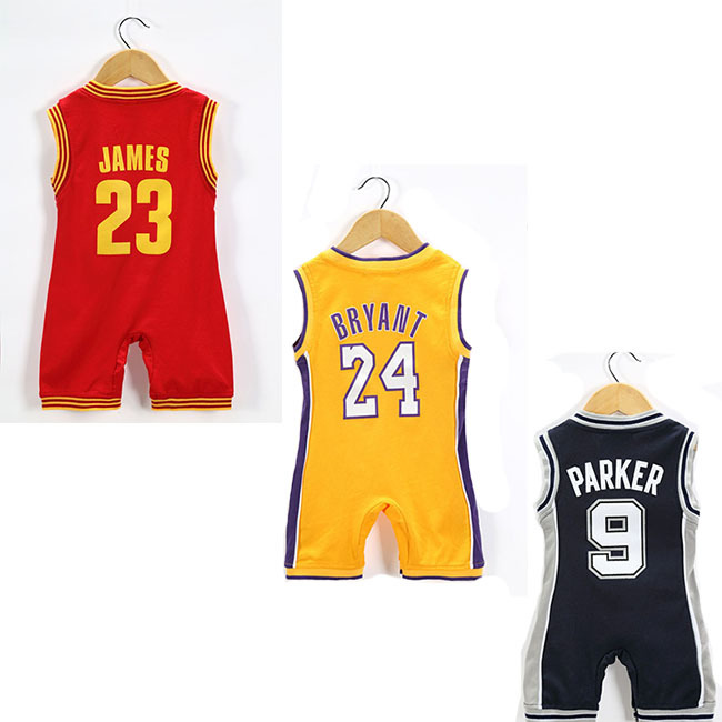 Free Shipping 2015 New Pure cotton Baby basketball jersey # Parker KOBE JAMES infant Onesie Romper Baby sportswear Jersey(China (Mainland))