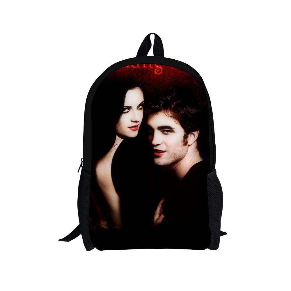 2015 New Design Twilight Children School Backpack Men Travel Bags Edward Character Breaking Dawn Backpacks for