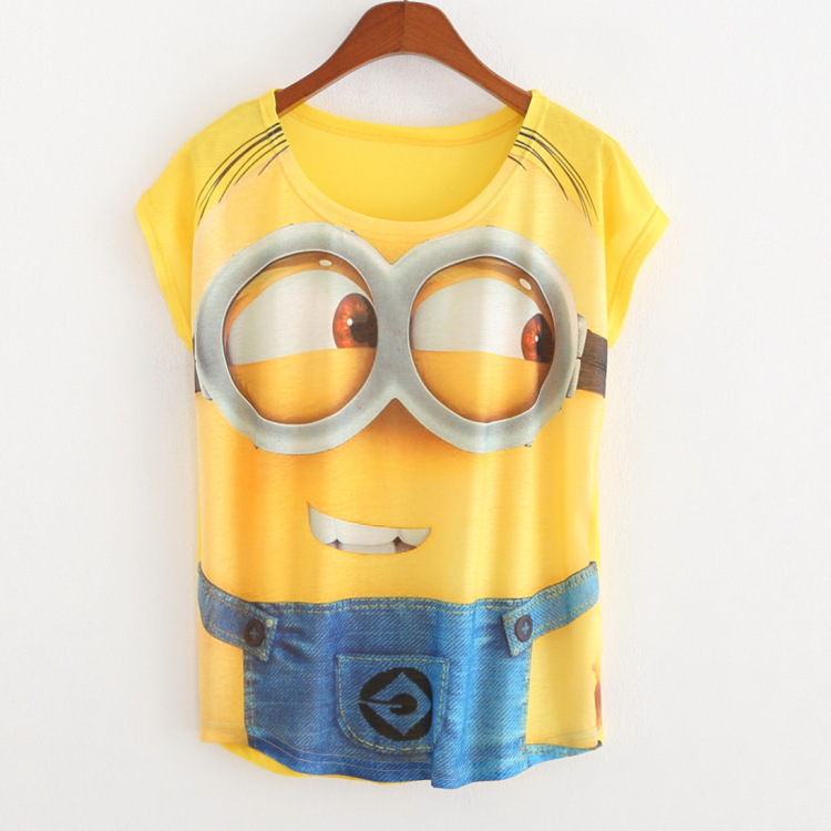 New Casual Tops Women 2016 Summer Style Round Neck Cute Minions Print T Shirt Fashion Short