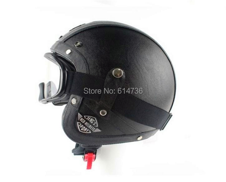 Hot Sell Black/brown Retro Vintage Motorcycle Open Face Half Leather Helmet Fashion Halley helmet(China (Mainland))