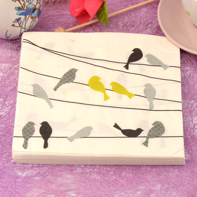 20 pcs Modern simples pássaro macio saudável decoupage guardanapo de papel 100% tissue virgem madeira para o natal festa de casamento decoração(China (Mainland))
