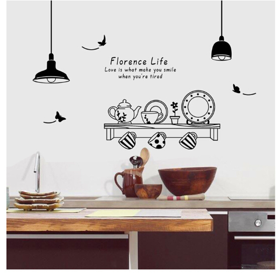 Large size plane wall sticker removable Kitchen stickers waterproof oil-proof PP-EPDM fire-resistant carton design 140x150cm(China (Mainland))