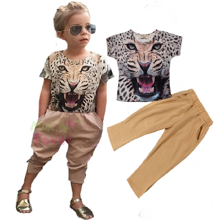 2016 Fashion Summer Girls clothing sets Children clothing trend baby girl sets cotton Leopard print t-shirts+trousers set f1820(China (Mainland))