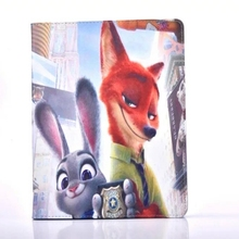 Zootopia rabbit Judy and fox Nick PU Leather Stand Flip Case Cover for Apple Tablet iPad2/iPad3/iPad4(China (Mainland))