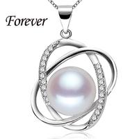 100% forever 10-11mm natuurlijke parel hanger ketting top kwaliteit 925 zilveren ketting & hanger voor vrouwen liefde gift nieuwe mode