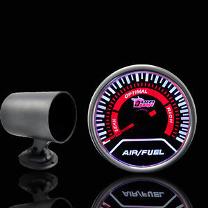 Universal 52mm AIR/FUEL Ratio Car LED Gauge ELECTTRO LUMINESCENT/ Air Fuel Meter+Black Auto Car Gauge Meter Pod Holder Cup(China (Mainland))