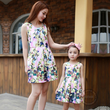Mother and daughter Family fitted summer dress mother of women mother and daughter cotton skirt princess dress children dress