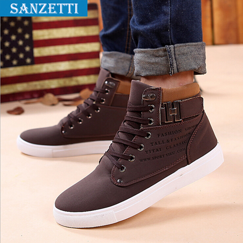 2015 Hot Men Shoes Tenis Male Fashion Autumn and winter Leather Shoe For Men Casual High Top Shoes Canvas Sneakers sanzetti(China (Mainland))