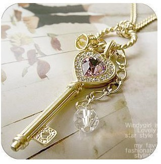 2015 European and American long section of amethyst love golden crown key necklace sweater chain(China (Mainland))