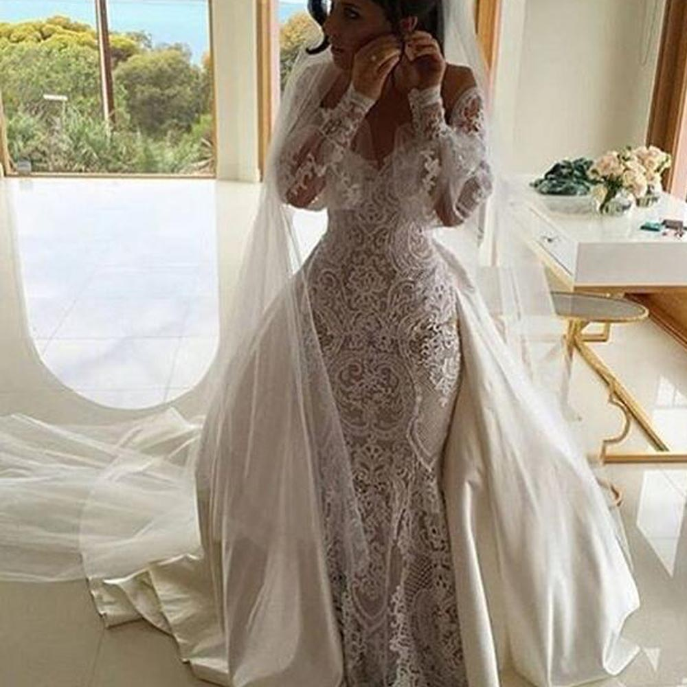 Vintage 2016 designer illussion lace applique mermaid long for Vintage mermaid style wedding dresses