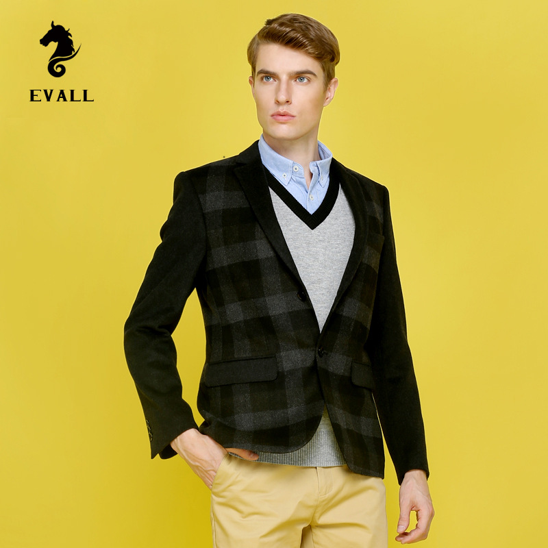 2015 Fall Winter thick wool plaid suit for men fashion big font b tartan b font